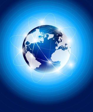 Blue background with orbit of globe