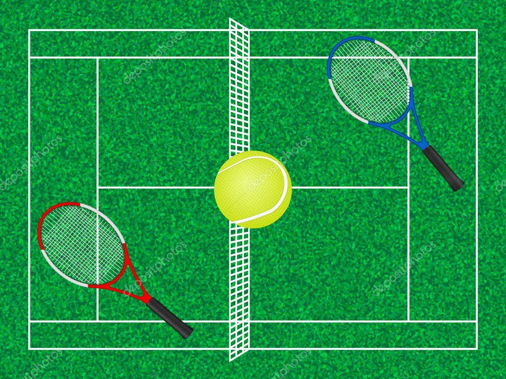 Tenis pelota stock de ilustracion ilustracion libre de stock de - Las Raquetas Y Pelota De La Cancha De Tenis Vector De Stock 10665266