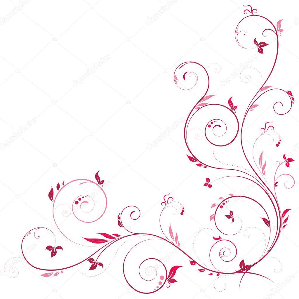 esquina floral en color rosa — Archivo Imágenes Vectoriales ...