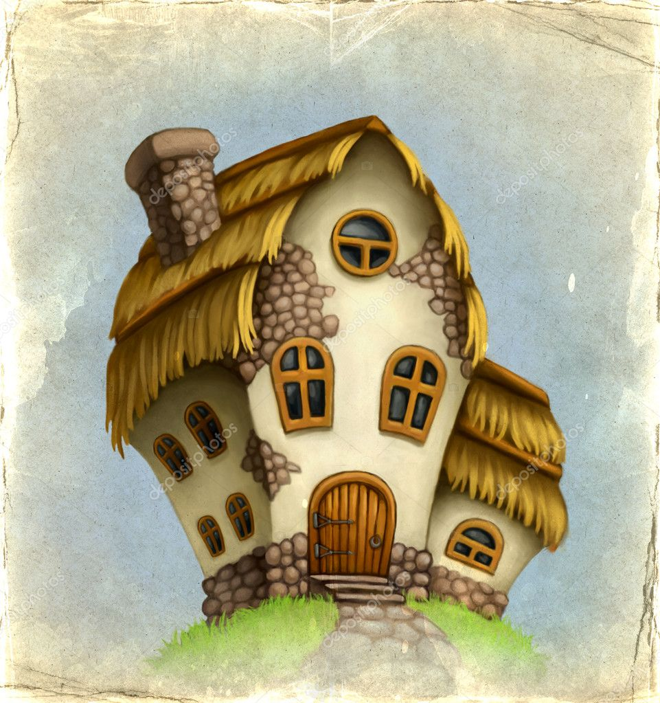 Old card with fairy-tale house