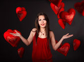 dívka s skupiny srdce