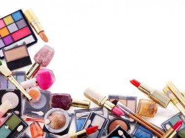 Decorative cosmetics for makeup. Copy space. stock vector