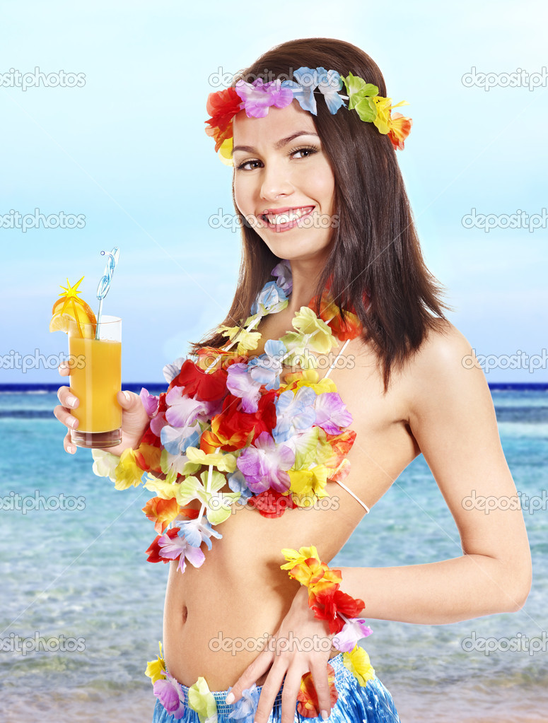 Young woman in costume of hawaii.