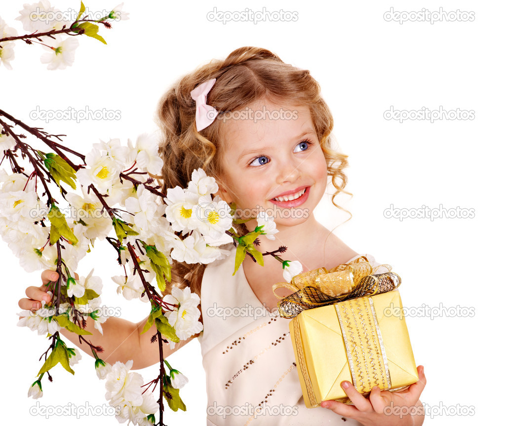Little girl with spring flower . Isolated.