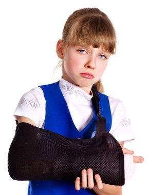 Broken arm in a cast.