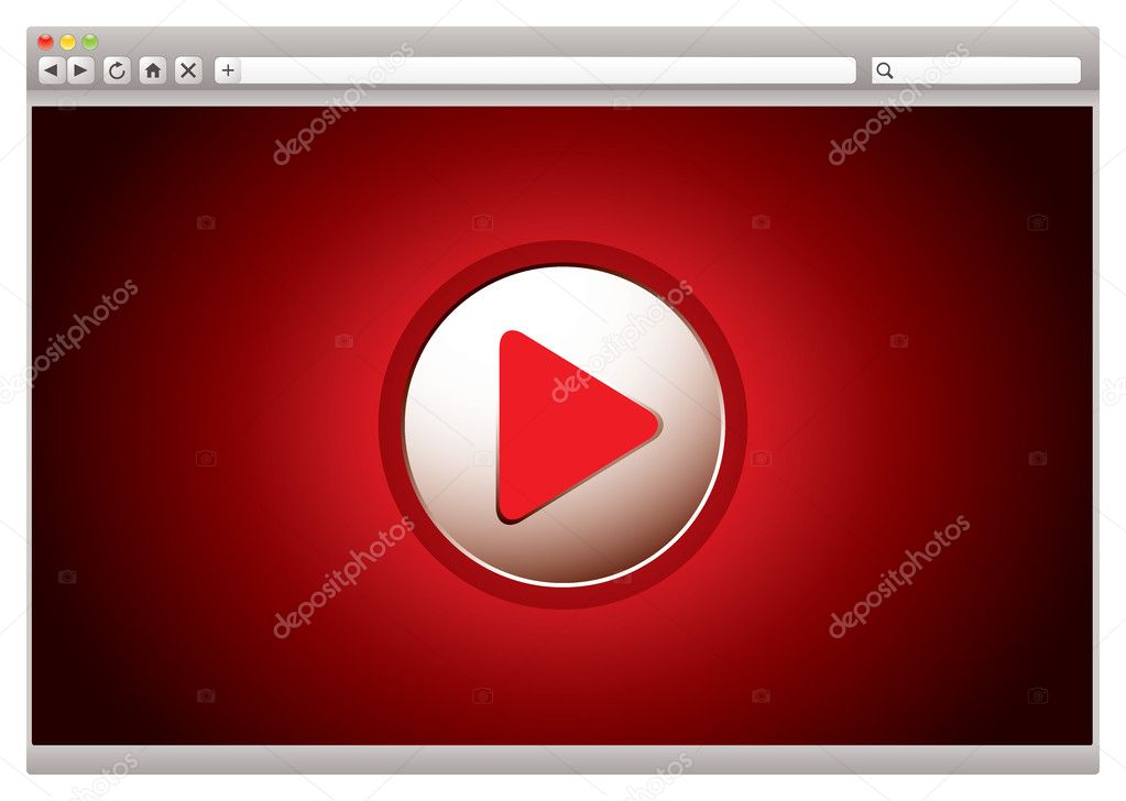 Red background to internet video web browser with play button stock vector