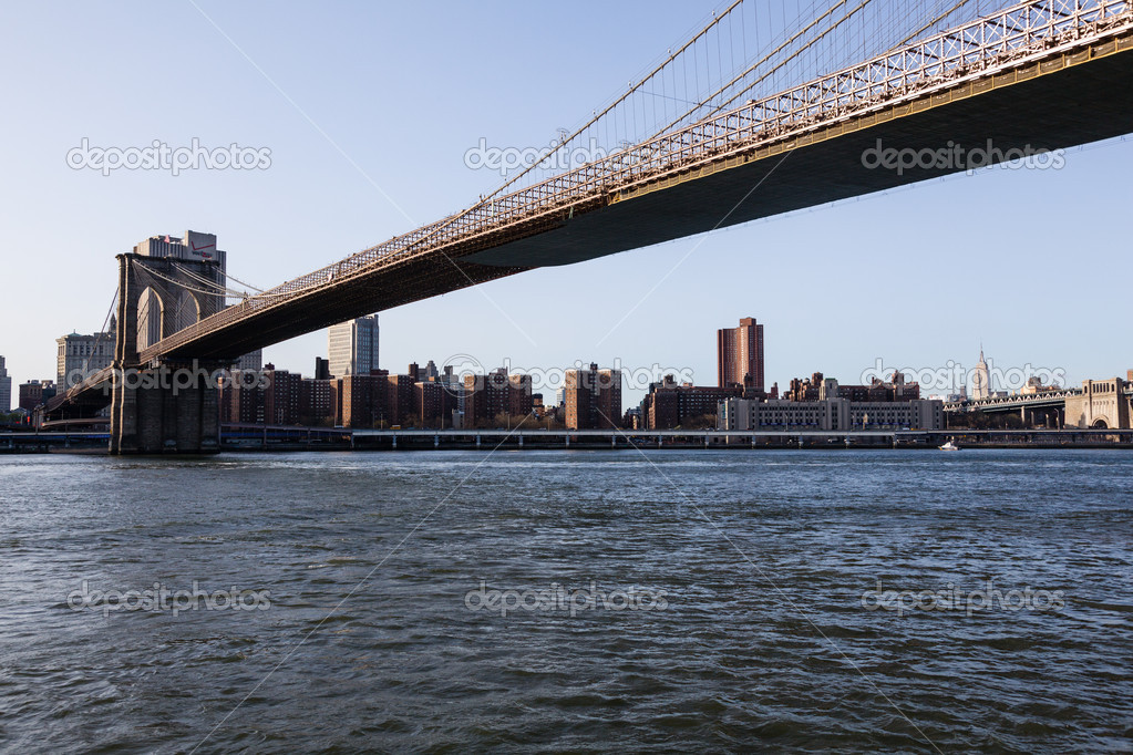 Brooklyn Bridge Towards Midtown Manhattan Stock Photo