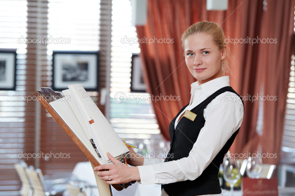 Restaurant Manager Woman At Work Place Stock Photo