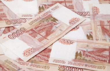 Background of five thousand russian roubles bills