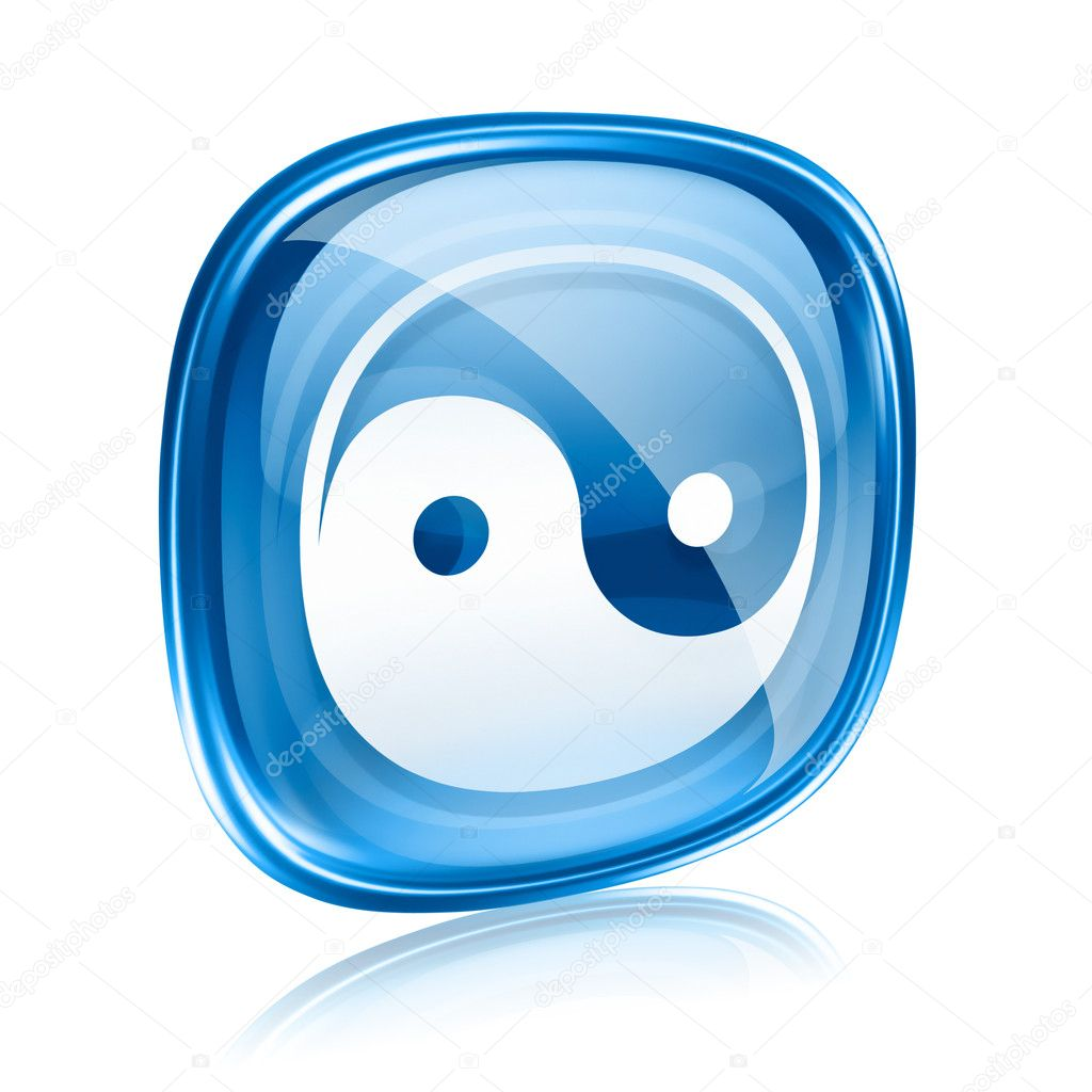 Yin Yang Symbol Icon Blue Glass Isolated On White Background