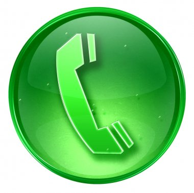 Phone icon green, isolated on white background.