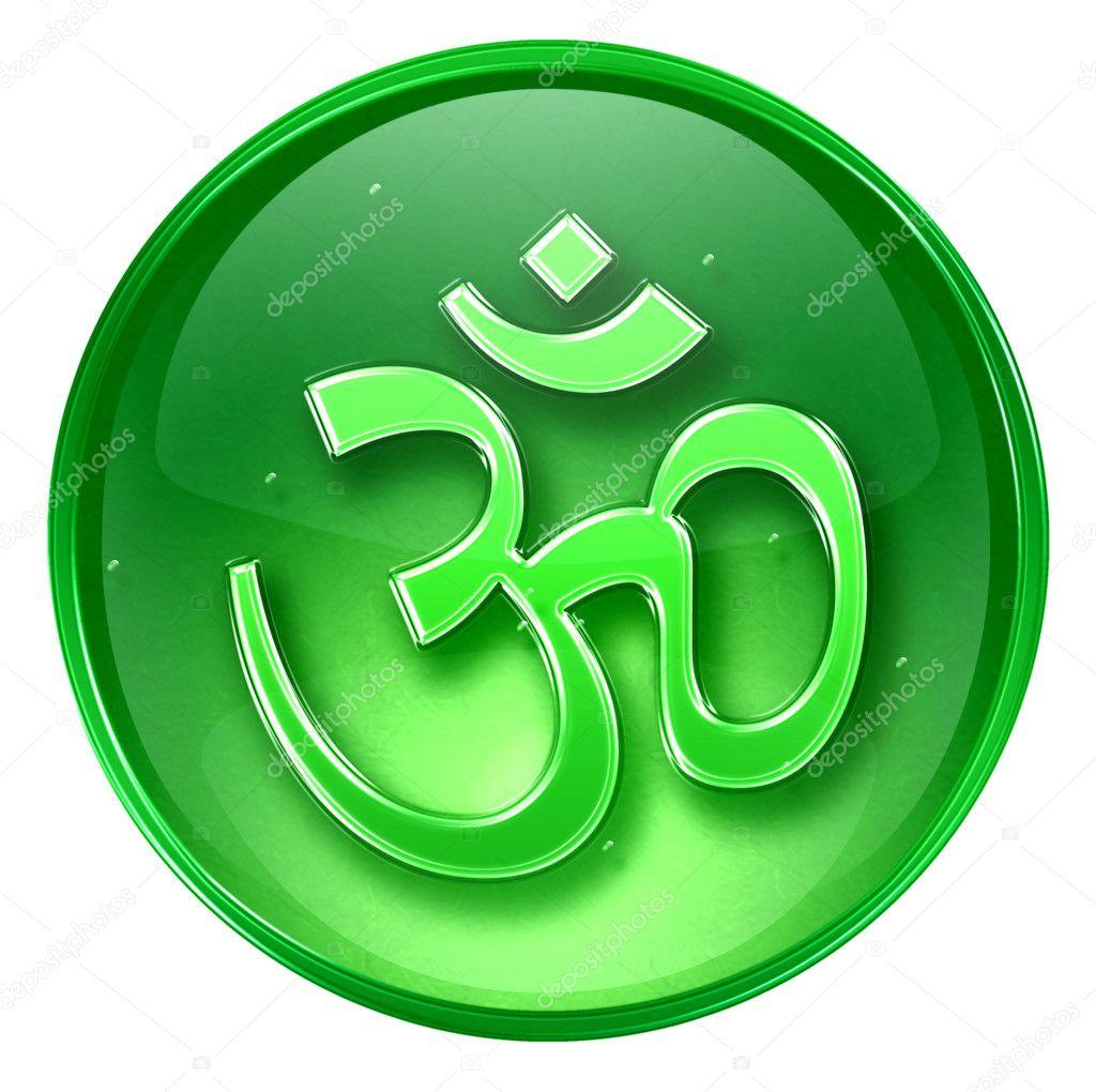 Om symbol icon green isolated on white background Om symbol images