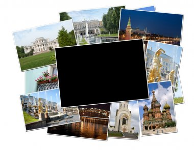 Photos of Moscow and St. Petersburg with blank frame
