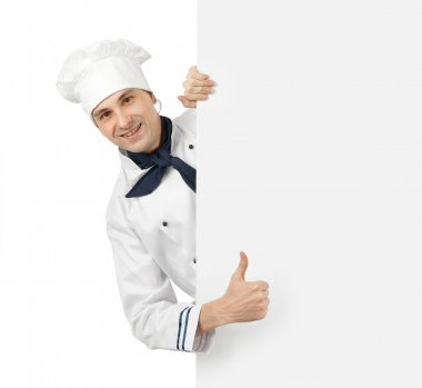 Happy chef showing thumb up sign