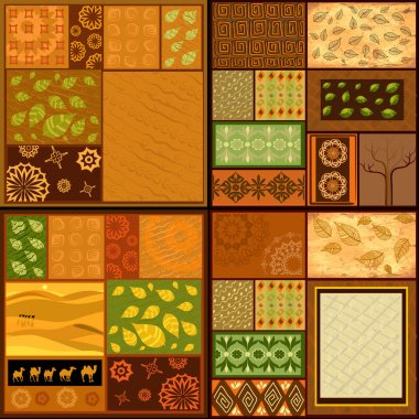 Set of ethnic backgrounds, African patterns
