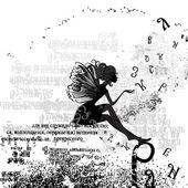 Fényképek absztrakt tervez-val egy lány grunge szöveg