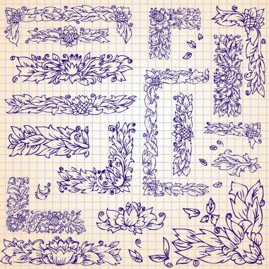 set frame foliage doodle