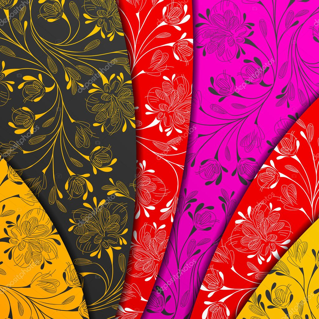 Strati colorati astratto fiori stilizzati vettoriali for Fiori stilizzati colorati