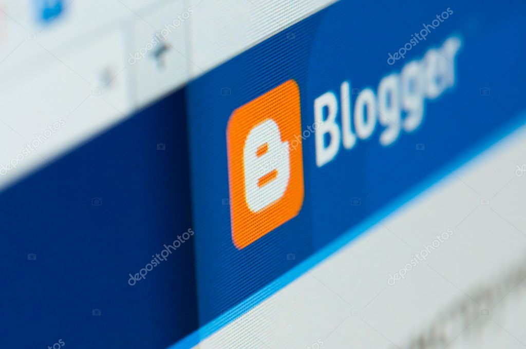 Blogger website on a computer screen close-up.