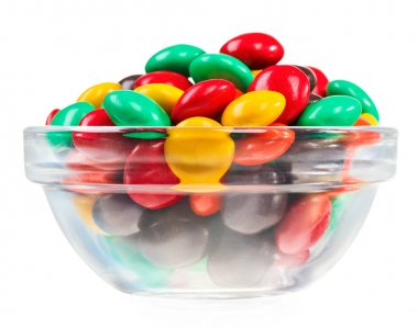 Multicolor bonbon sweets (ball candies) in glass bowl, isolated