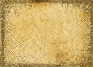 The old background with a floral border
