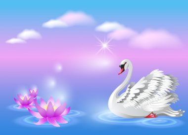 Swan and lily