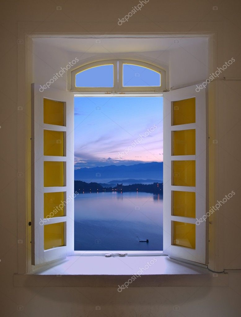 Window View of Dawn at the Sun Moon Lake