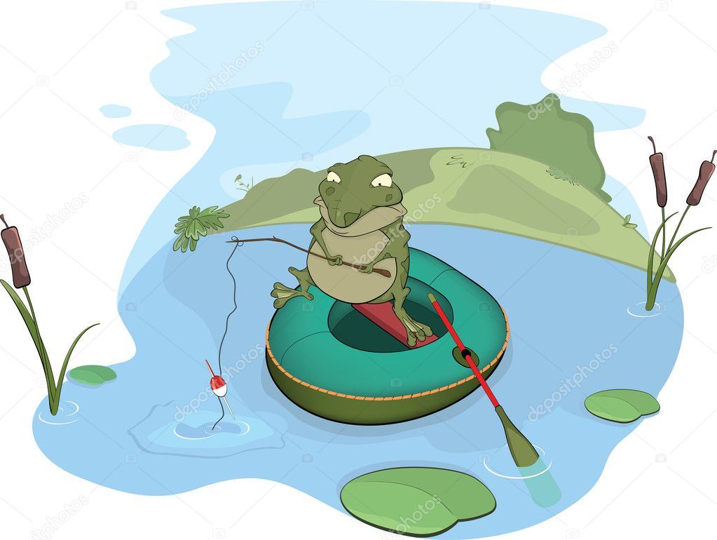 Toad the fisher. Cartoon