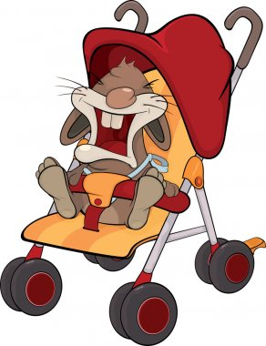 Cub of a rabbit in a children's carriage