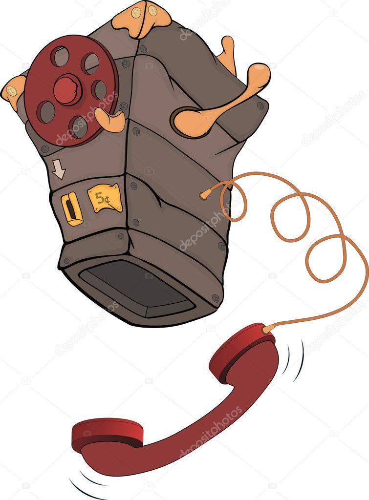 Vecchio cartone animato di telefono — vettoriali stock