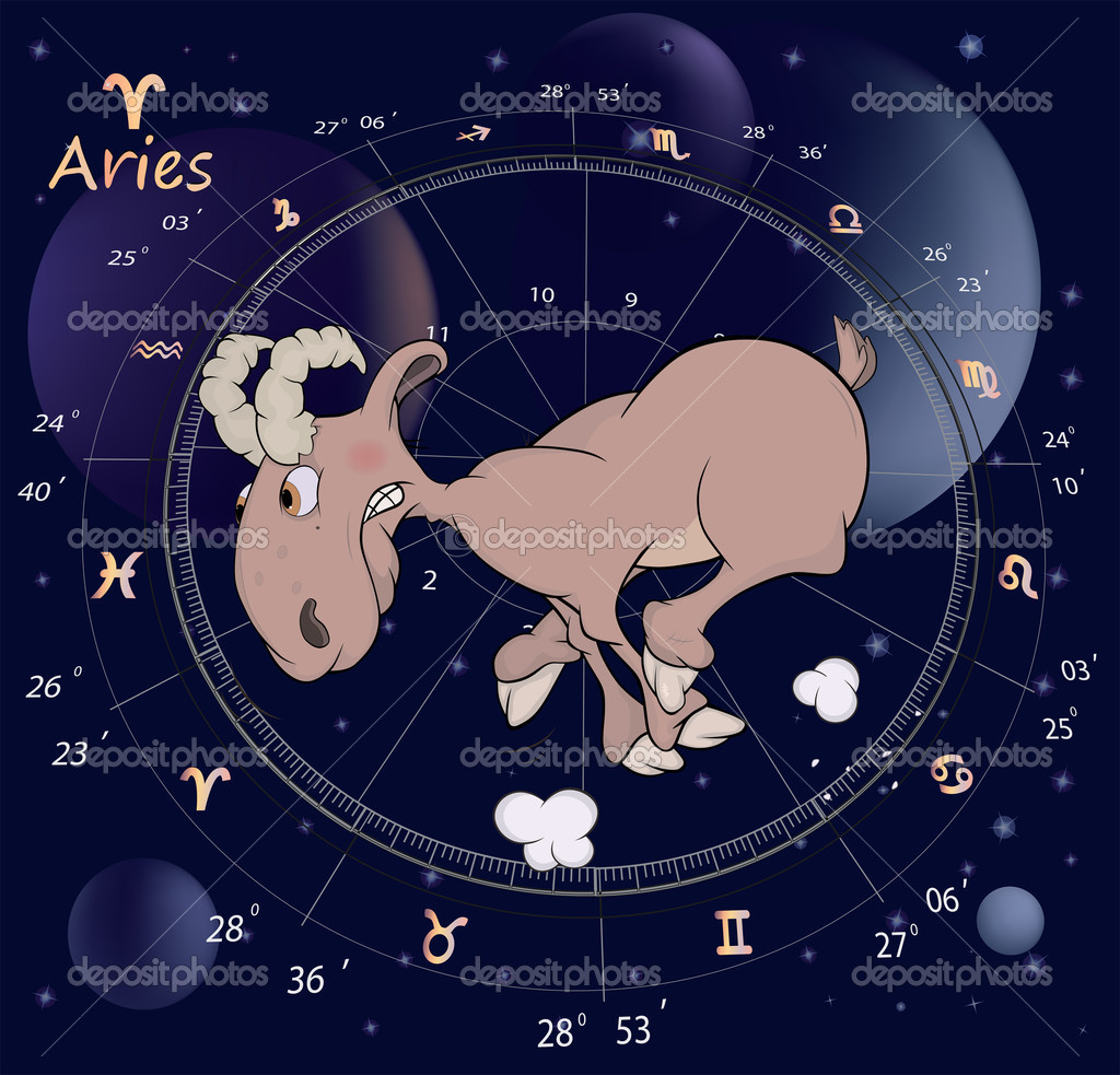 Segni zodiacali aries cartone animato u vettoriali stock