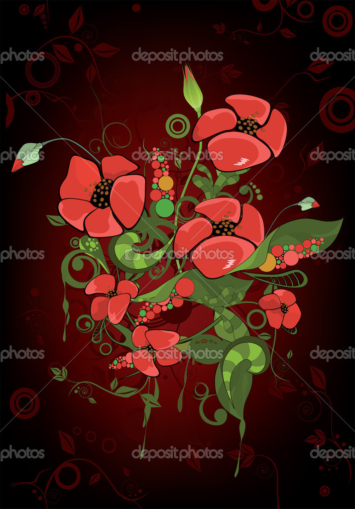 Pop art. Abstract ornament with poppies