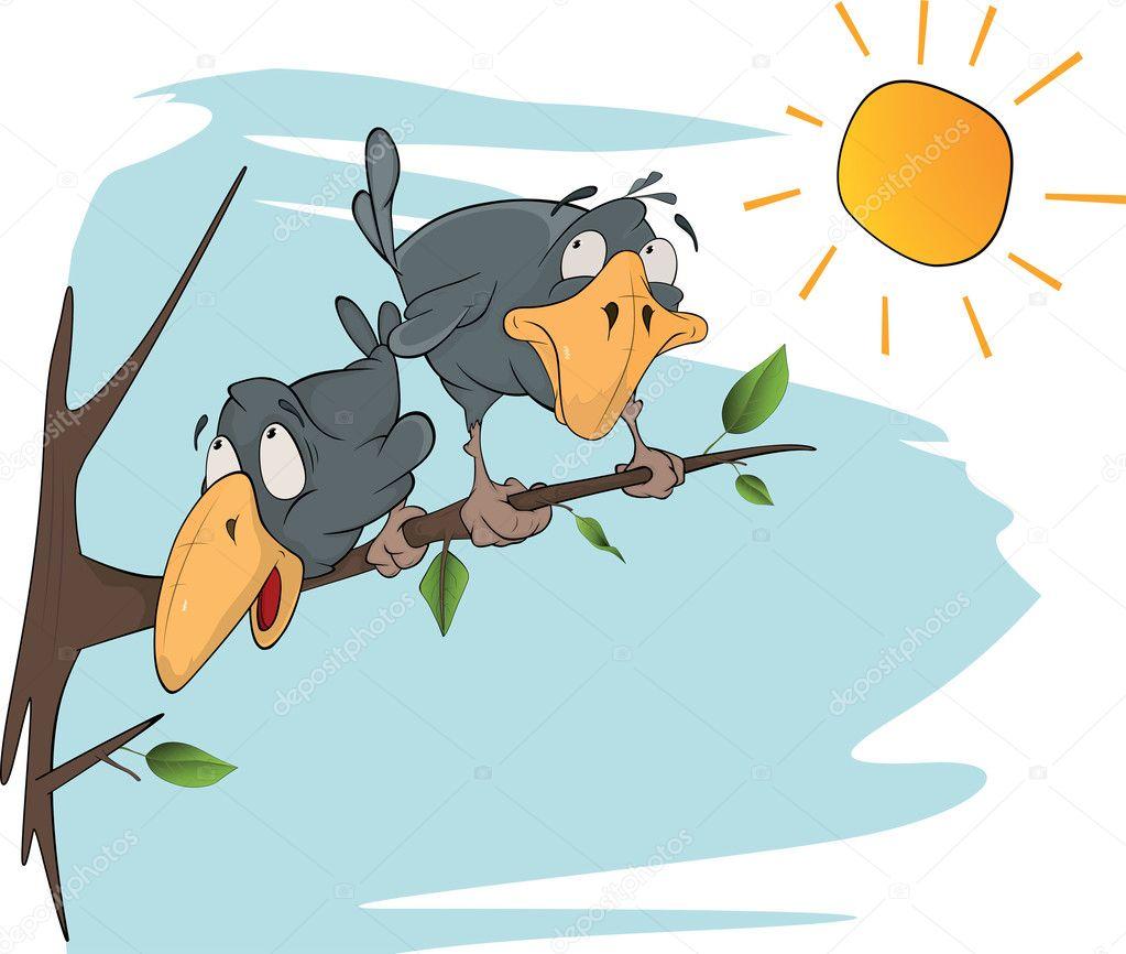 Two cheerful ravens. Cartoon