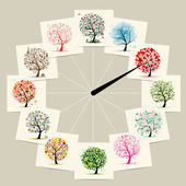 Photo 12 months with art trees, watches concept design