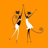 anmutige Katzen tanzen, Vektorillustration für Ihr Design