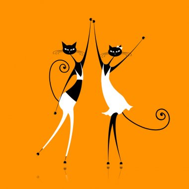 Graceful cats dancing, vector illustration for your design