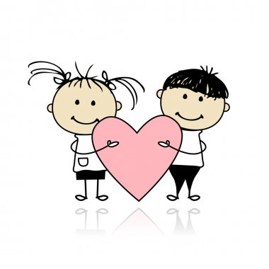 Valentine day. Children with big red heart for your design clip art vector