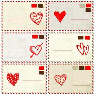 Valentine envelope with red heart sketch and place for your text