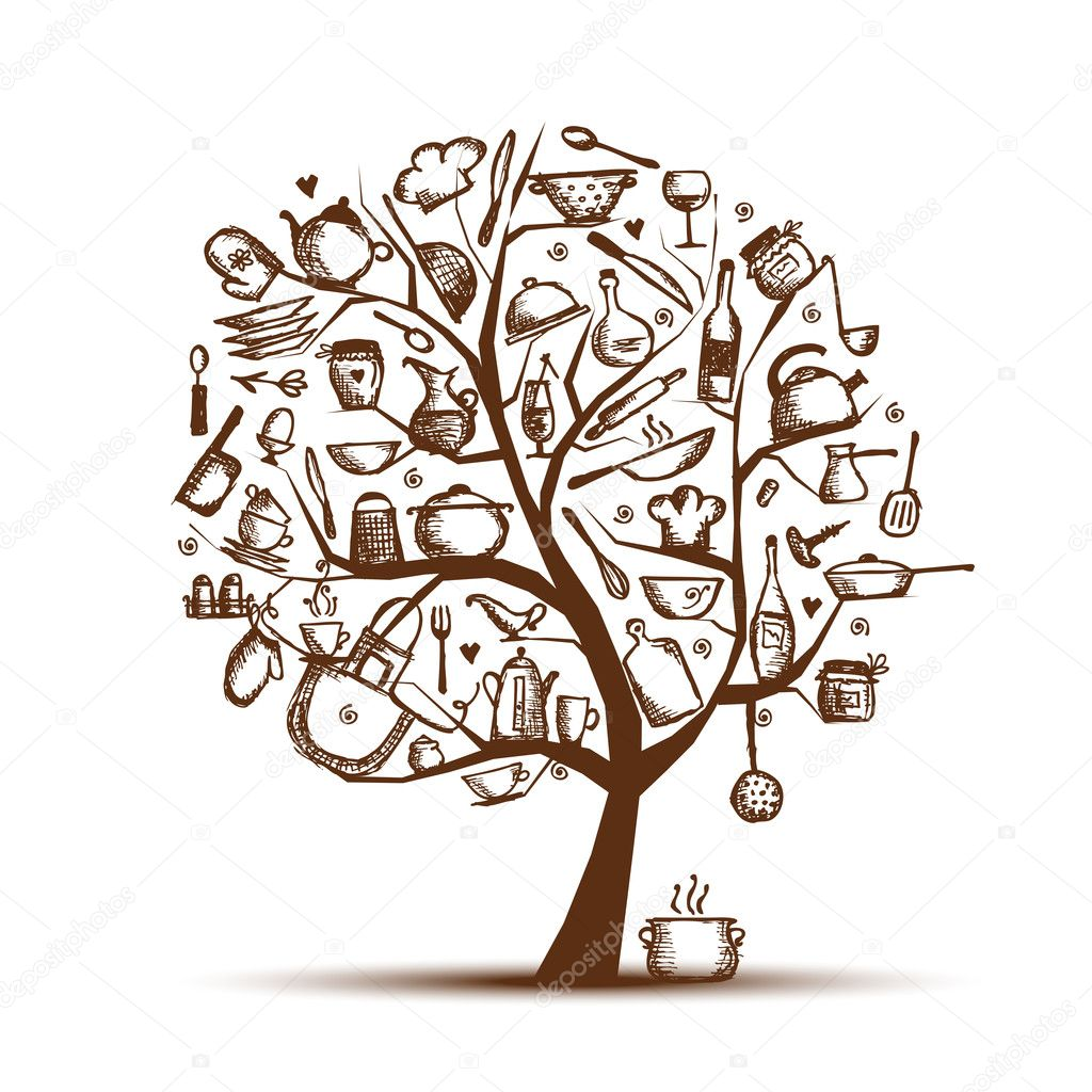 Art Tree With Kitchen Utensils Sketch Drawing For Your Design Stock Illustration