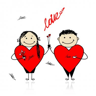 Valentine day. Couple with big red hearts for your design clip art vector