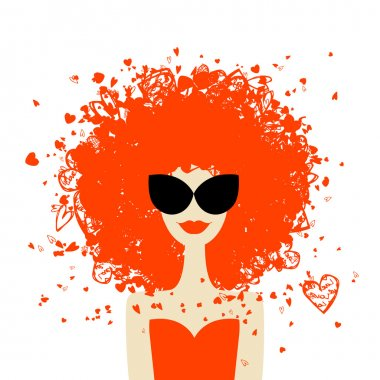 Woman portrait with orange hairstyle, summer style for your design
