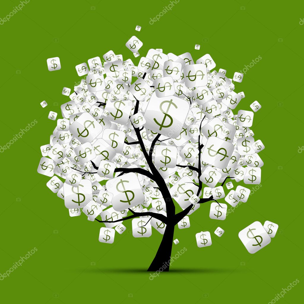 Clipart Money Tree Wallpaper Money Tree Concept With Dollar Signs For Your Design Stock Vector C Kudryashka 9155893