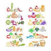 Fényképek Egészséges élelmiszer a polcokon, vázlat, a design