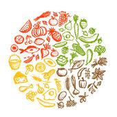 Fényképek Egészséges élelmiszer-háttér, vázlat, a design