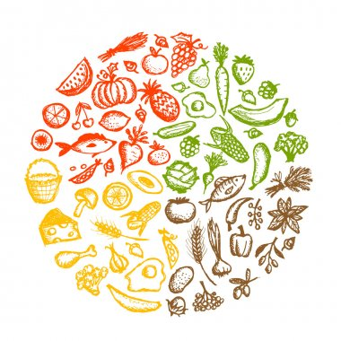 Healthy food background, sketch for your design stock vector