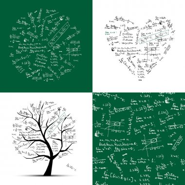Math collection: frame, tree, seamless background