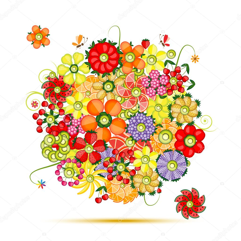 Floral bouquet. Flowers made from fruits