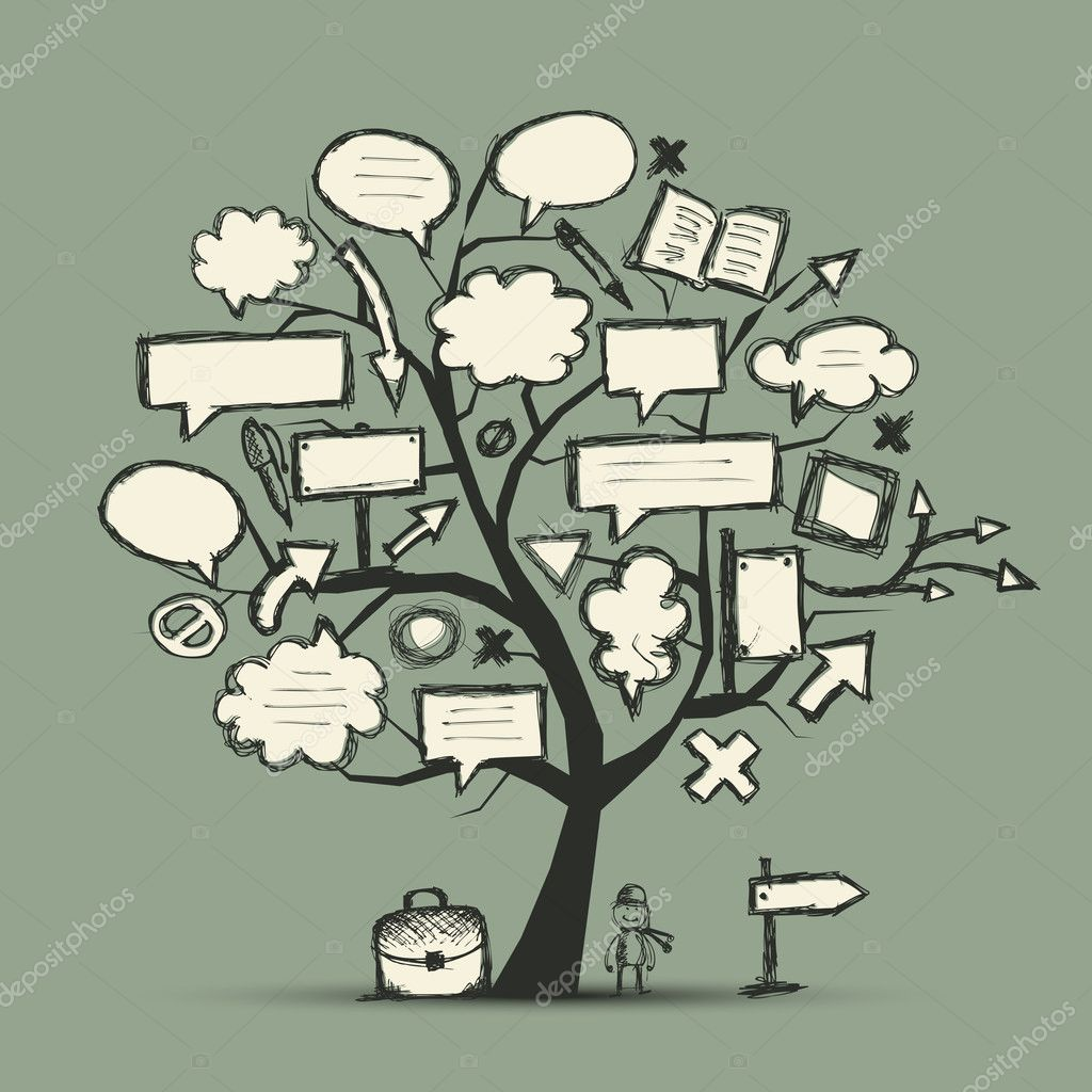 Sketch of tree with arrows and frames for your design