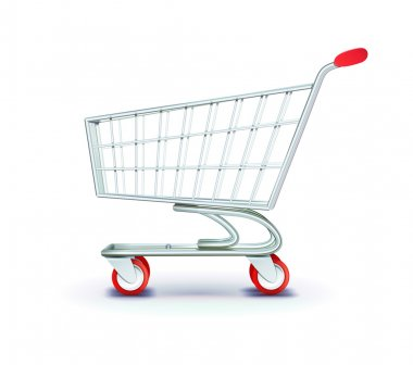 Vector illustration of side view empty supermarket shopping cart isolated on white background. stock vector