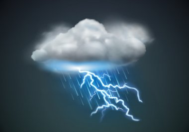 Vector illustration of cool single weather icon - cloud with heavy fall rain and lightning in the dark sky stock vector